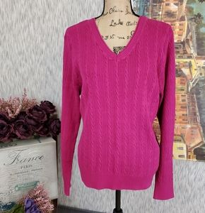 Sonoma Cable Knit V Neck Sweater Pink Size XL